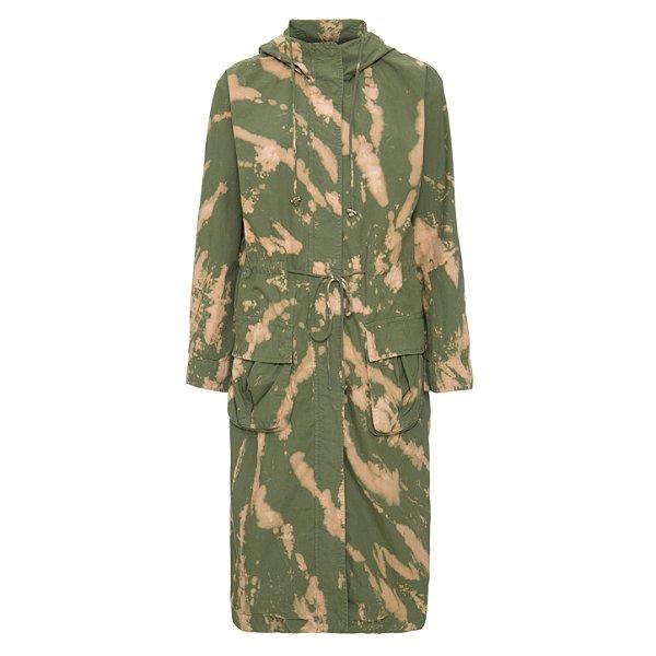Parka Longa de Sarja Empapelada Militar Tie Dye