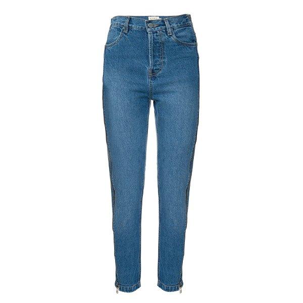Calça Jeans Reta Zíper Escura