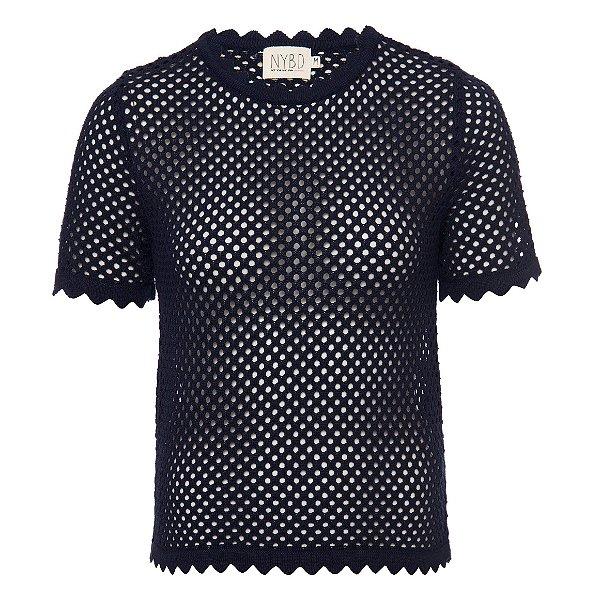 T-Shirt Tricot Furadinha Marinho