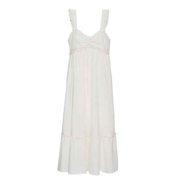 Vestido Babados Off White