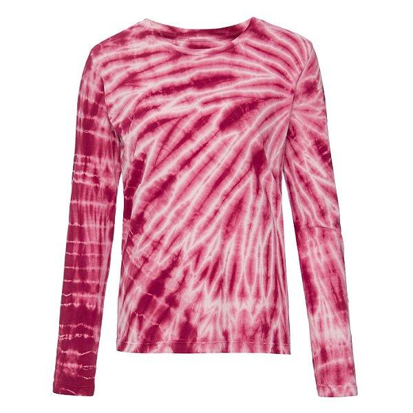 Camiseta básica manga longa tie dye Bordeaux