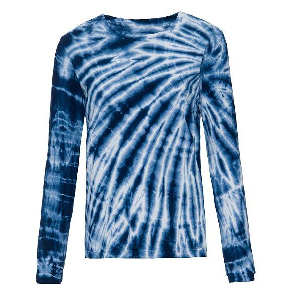 Camiseta básica manga longa tie dye Azul