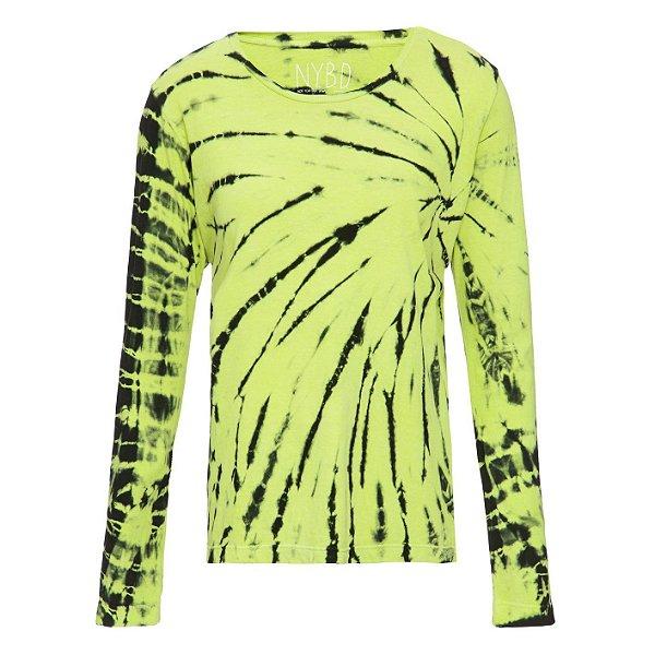 Camiseta básica manga longa tie dye Lime