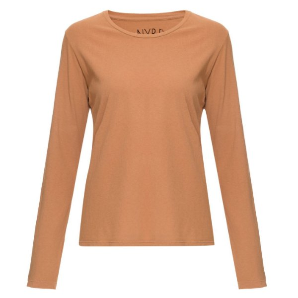 Camiseta básica manga longa Lisa Camelo