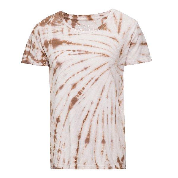 Camiseta básica tie dye Bege