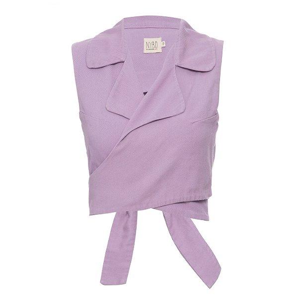 Top Cropped Camisa sem Manga Lilás