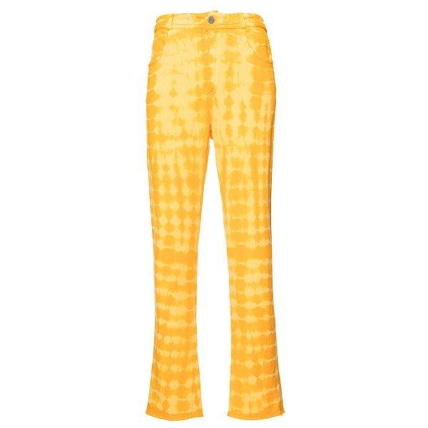 Calça Reta Moletom Tie Dye Amarelo
