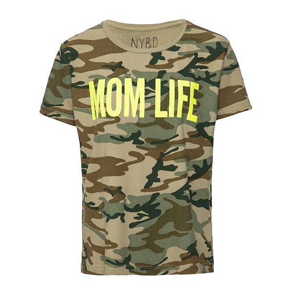 Camiseta Mom Life Camuflada Lime