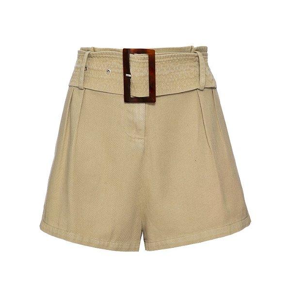 Shorts Saia Pregas Kaki