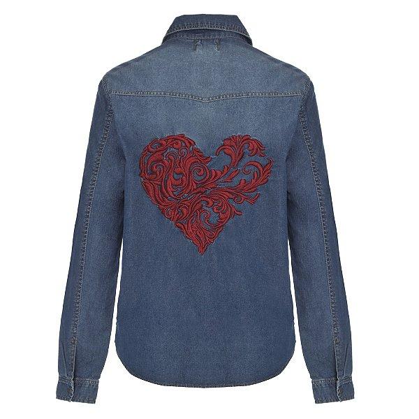 Camisa Jacket  Coração Arabesco Lavagem Escura