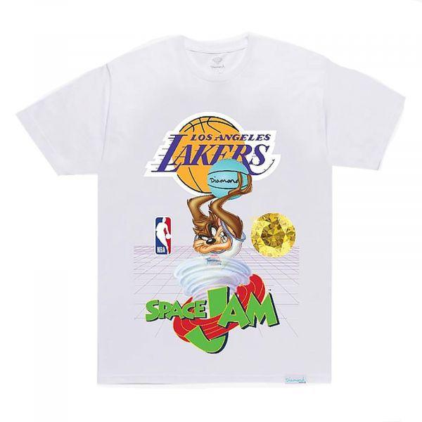 """DIAMOND SUPPLY CO - Camiseta Space Jam Lakers """"Branco""""  -NOVO-"""
