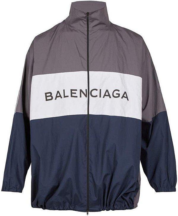 "BALENCIAGA - Jaqueta Logo Printed ""Cinza/Marinho"" -NOVO-"