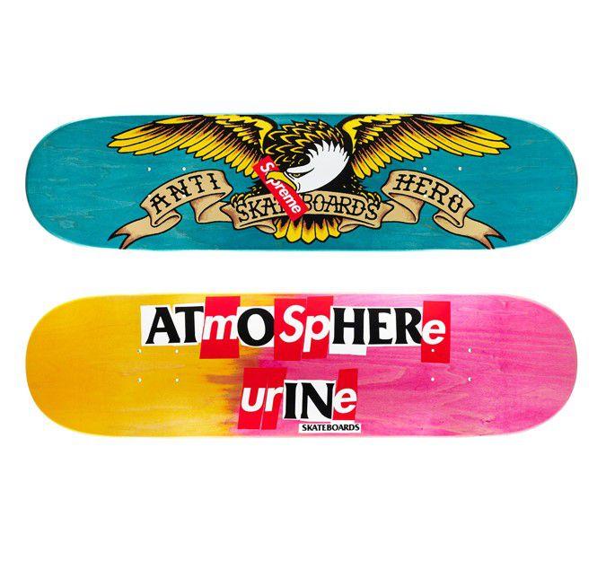 "SUPREME x ANTIHERO - Shape Skate Bird ""Rosa/Amarelo"" -NOVO-"