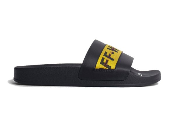 "OFF-WHITE - Chinelo Slider Industrial Belt ""Black/Yellow"" -NOVO-"