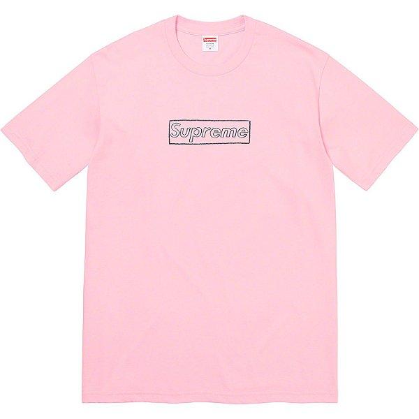 """SUPREME x KAWS - Camiseta Chalk Logo """"Rosa"""" -NOVO-"""