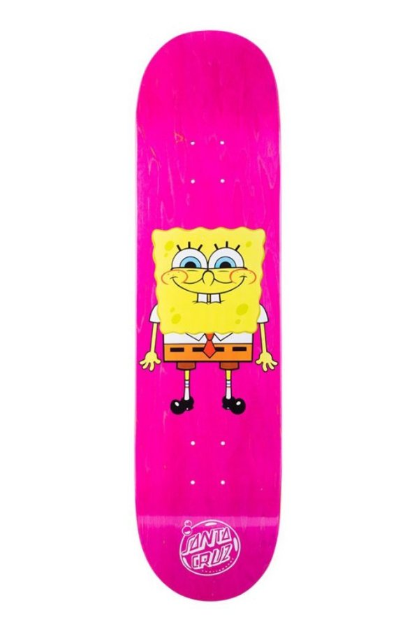 "SANTA CRUZ x BOB ESPONJA - Shape de Skate Squarepants ""Rosa"" -NOVO-"