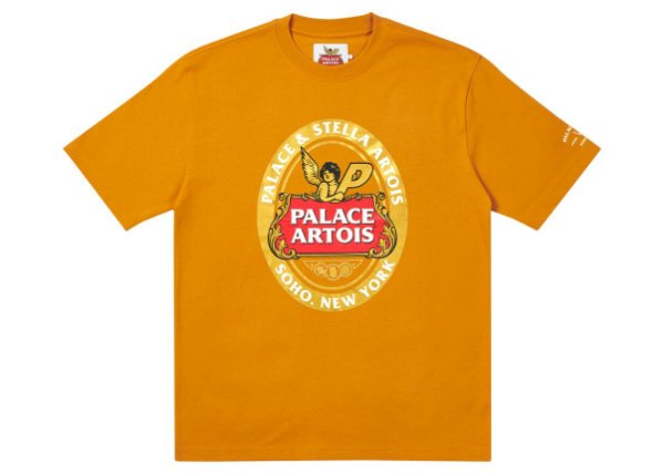 "PALACE x STELLA ARTOIS - Camiseta Coaster ""Dourado"" -NOVO-"