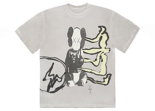 """TRAVIS SCOTT x KAWS x FRAGMENT DESING - Camiseta Jack Aged Yellow """"Branco"""" -NOVO-"""