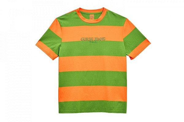 """GUESS x Sean Wotherspoon - Camiseta Stripe """"Laranja"""" -NOVO-"""