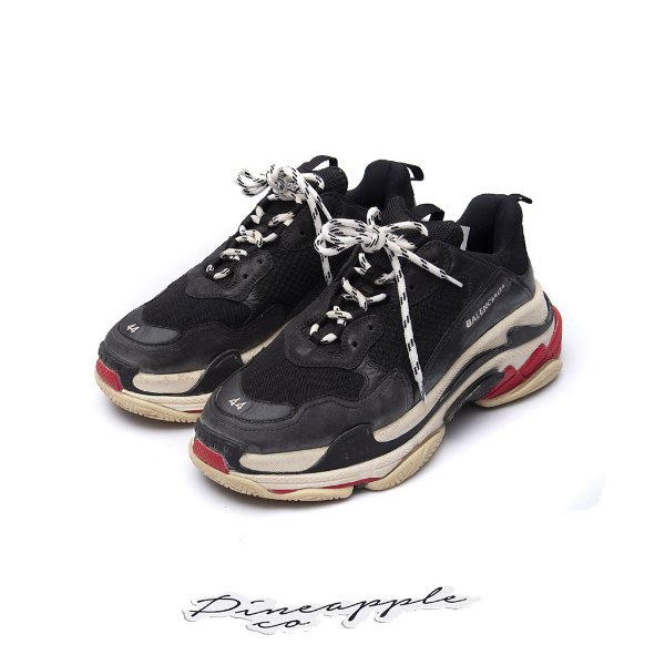 "BALENCIAGA - Triple S ""Black/White/Red"" (Made In Italy) -USADO-"