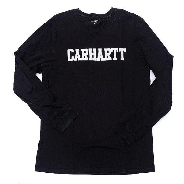 "CARHARTT- Camiseta Manga Longa Logo ""Preto"" -USADO-"