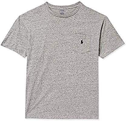 """!POLO RALPH LAUREN - Camiseta Pocket """"Cinza"""" -NOVO-"""