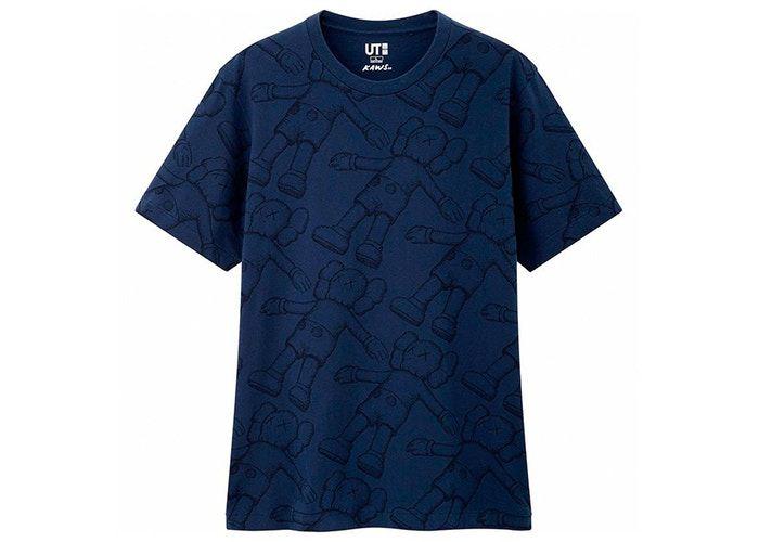 "UNIQLO x KAWS - Camiseta All Over Holiday Print ""Marinho"" -NOVO-"