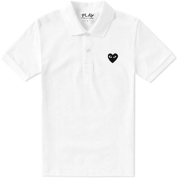 """COMME DES GARÇONS PLAY - Camisa Polo Black Heart """"Branco"""" -USADO-"""