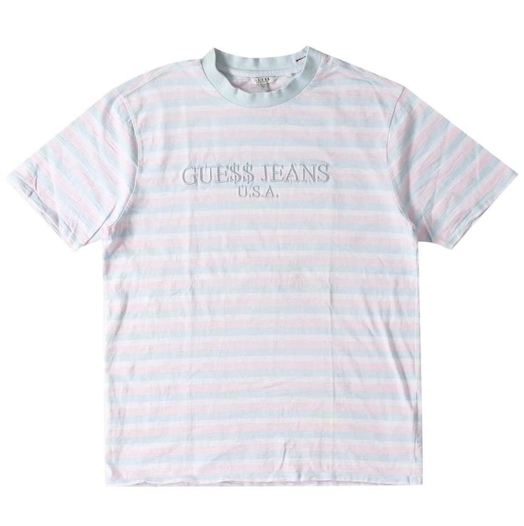 """Guess x Asap Rocky - Camiseta Logo GUE$$ """"Light Pink/Blue"""""""