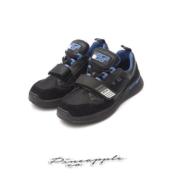 """PRADA - Mechano Leather """"Black/Blue"""" -USADO-"""