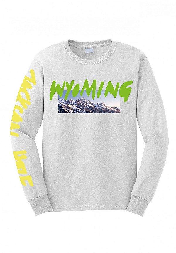 """KANYE WEST - Camiseta Manga Longa Wyoming """"Branco"""" -NOVO-"""