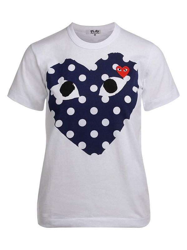 """!COMME DES GARÇONS - Camiseta Play Blue Polka Dot Heart """"Branco"""" -NOVO-"""