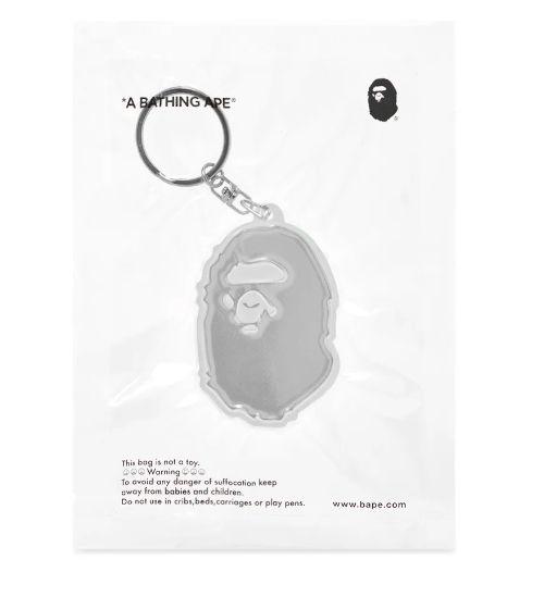 "BAPE - Chaveiro A Bathing Ape Head Refletivo ""Branco"" -NOVO-"