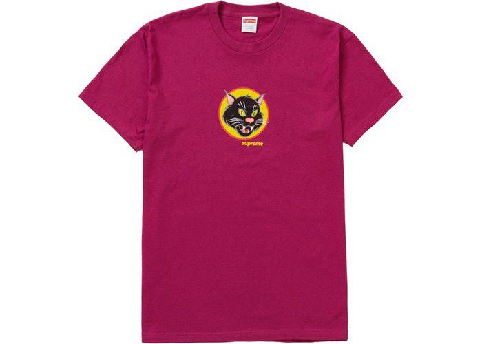 "SUPREME - Camiseta Black Cat ""Magenta"" -NOVO-"