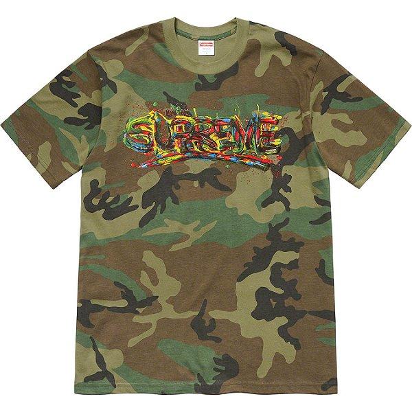 "SUPREME - Camiseta Paint Logo ""Camo"" -NOVO-"
