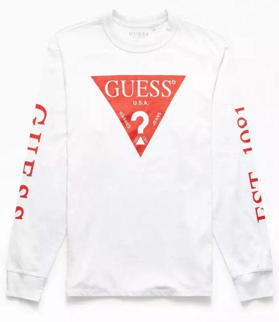 """GUESS - Camiseta Manga Longa Red Triangle """"White"""""""