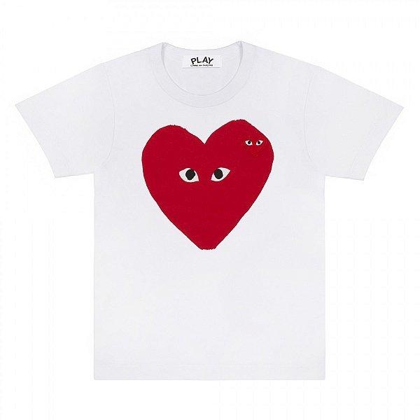 "COMMES DES GARÇONS PLAY - Camiseta Heart logo ""Branco"" -NOVO-"