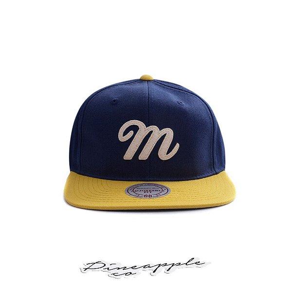 """MITCHELL & NESS - Boné Classic M """"Azul Marinho/Amarelo"""" -NOVO-"""