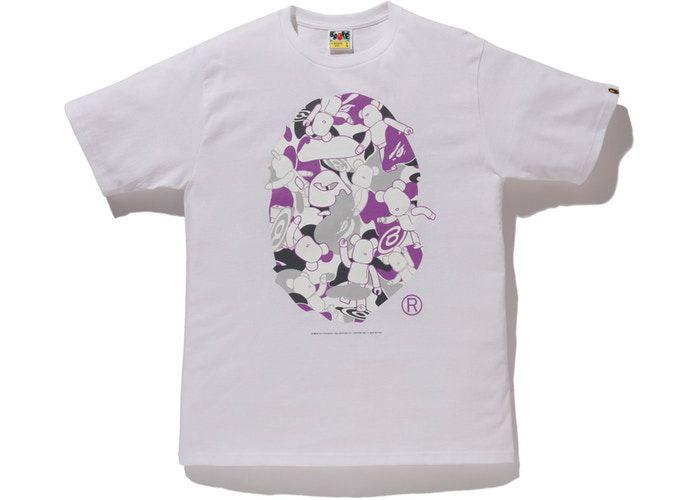 "BAPE x MEDICOM - Camiseta NYC Big Head Bearbrick ""Branco"" -NOVO-"