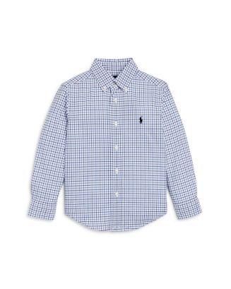"POLO RALPH LAUREN - Camisa Xadrez Kids ""Branco/Azul"" (Infantil) -USADO-"