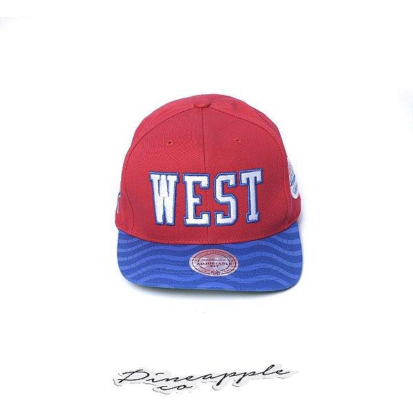 "MITCHELL & NESS - Boné NBA Wave All Star West ""Vermelho/Azul"" -NOVO-"