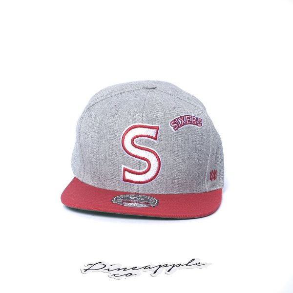 """MITCHELL & NESS - Boné NBA Block Fitted S Sixers Logo """"Grey Heather"""""""