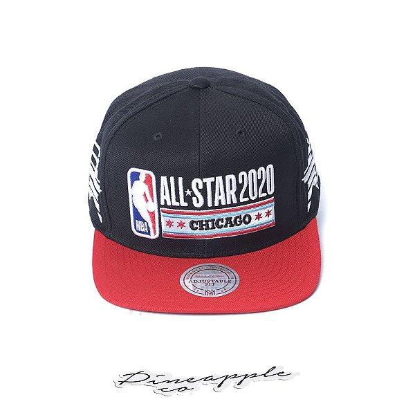 """MITCHELL & NESS - Boné NBA Side Stars All Star Chicago """"Preto/Vermelho"""" -NOVO-"""