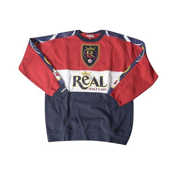 """MITCHELL & NESS - Moletom Crewneck Script Logo Real Salt Lake """"Vermelho/Marinho/Branco"""" -NOVO-"""