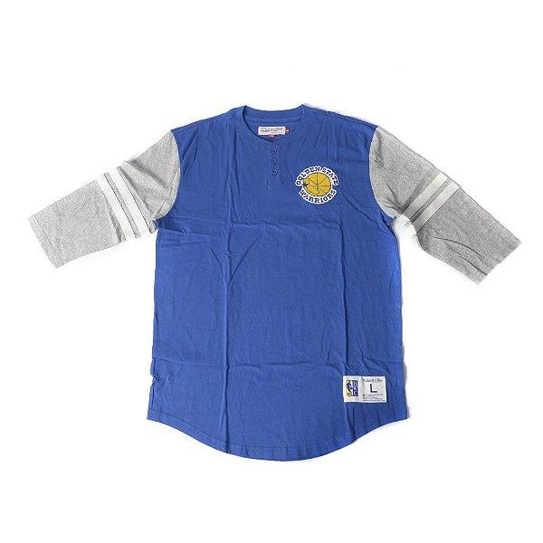 "MITCHELL & NESS - Camiseta 3/4 Golden State ""Azul/Cinza"" -NOVO-"