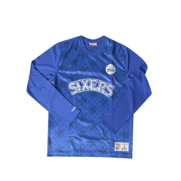 """MITCHELL & NESS - Camiseta Manga Longa Side Logo Sixers """"Azul"""" -NOVO-"""