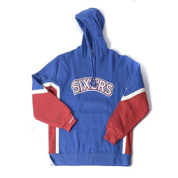 "MITCHELL & NESS - Moletom NBA Logo Sixers ""Azul/ Vermelho/ Branco"" -NOVO-"