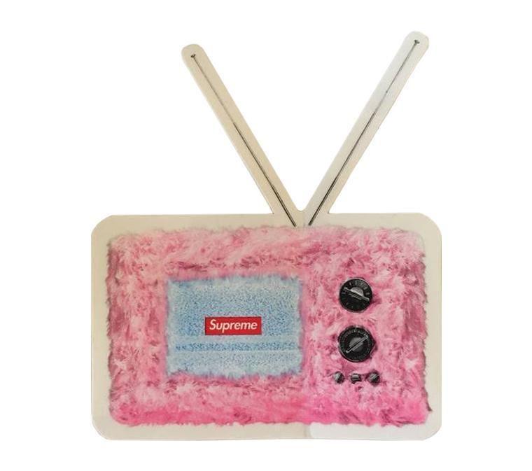 """SUPREME - Adesivo SS18 Television """"Rosa"""" -NOVO-"""