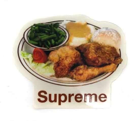 "SUPREME - Adesivo SS18 Chicken Food Dinner Plate ""Bege"" -NOVO-"