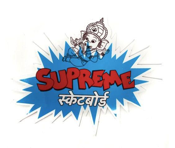 "SUPREME - Adesivo SS18 Ganesh Indian Elephant Script  ""Azul"" -NOVO-"